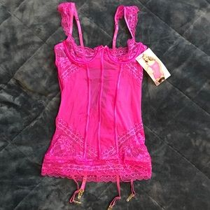 Sexy pink lace chemise lingerie & panty set new M